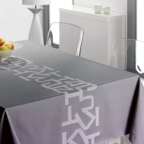 Nappe carr e jakar 150 x 150 gris fonc achat vente for Table carree 150 x 150