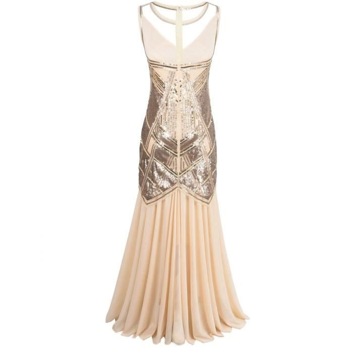 Womens 1920s Flapper Ball Gown Sequin Art Deco Long Cocktail Formal Dress 2ODNXZ Taille-38