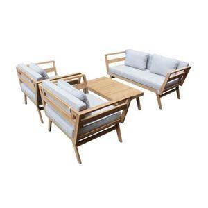 SALON DE JARDIN  EZEIS Salon bas en eucalyptus - 4 pièces avec cous