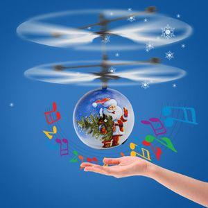 DRONE Père Noël Flying Ball LED Musique Jouets pour Garç