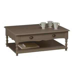 TABLE BASSE Table Basse Taupe Rectangle 2 Tiroirs Va-et-Vient
