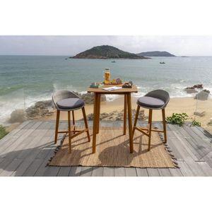 SALON DE JARDIN  Ensemble repas de jardin type bar - table 80x80cm