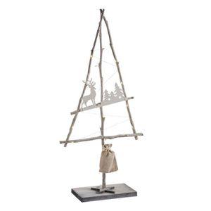SAPIN - ARBRE DE NOËL Sapin de Noël déco en bois sur pied lumineux à led