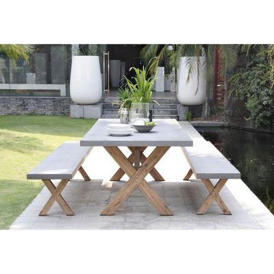 Ensemble de en fibre x bancs Gris jardin acacia table 90 Repas rectangulaire et Laure ciment 1 200 cm2 de shdCxrtQ