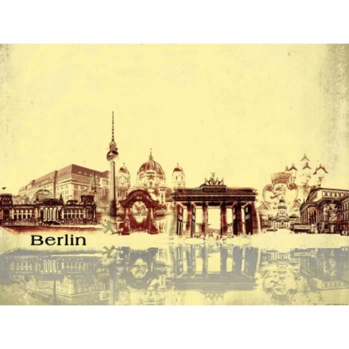 berlin poster reproduction collage urbain style vintage 60 x 80 cm achat vente affiche. Black Bedroom Furniture Sets. Home Design Ideas
