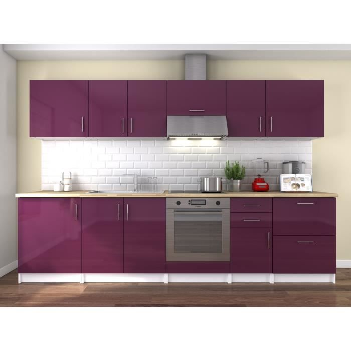 neo cuisine compl te l 3m laqu aubergine achat vente cuisine compl te neo cuisine. Black Bedroom Furniture Sets. Home Design Ideas