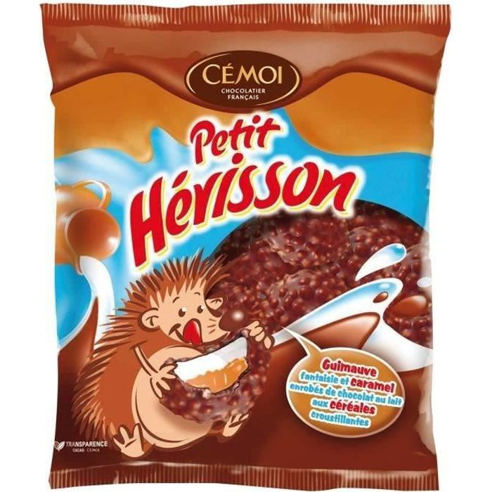 CEMOI Guimauves Petit Hérisson et caramel enrobées de chocolat au lait aux céréales croustillantes - 180 g