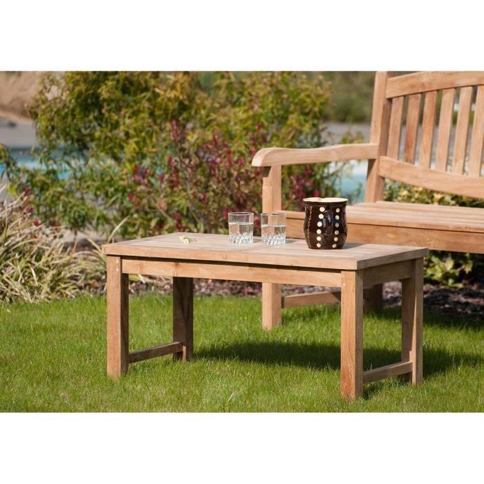 Table basse de jardin en teck 90 x 45 cm JARDITECK