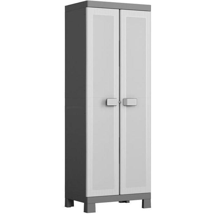 KIS Armoire de rangement haute Logico - 65 x 45 x 182 cm - Noir et gris
