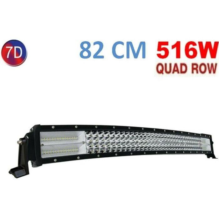 Barre LED 516W 7D 82cm Lumière Combinée Pour VTT Camion Tracteur Jeep 4x4
