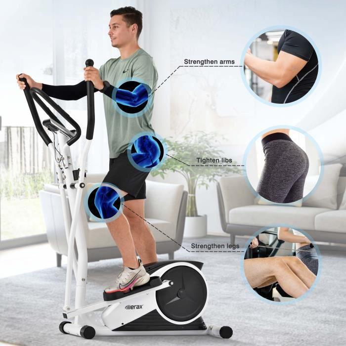 Vélo elliptique avec LCD magnétique 8 niveaux de résistance Volant d'inertie de 10 kg Blanc