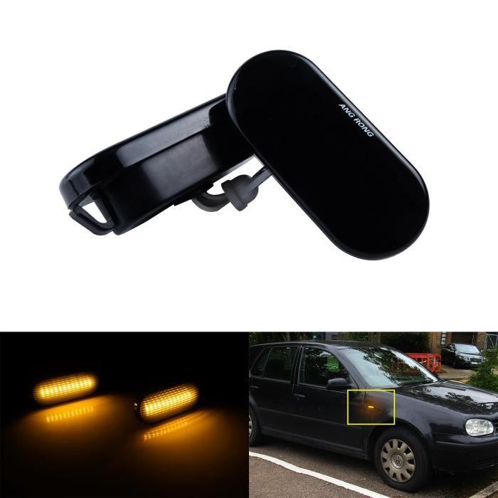 2x Jaune LED Feux Clignotant Latéral Repetiteur Lentille Noir Pour VW Golf 4 Polo Passat T5 Skoda SEAT Ford Fiesta Galaxy Fusion