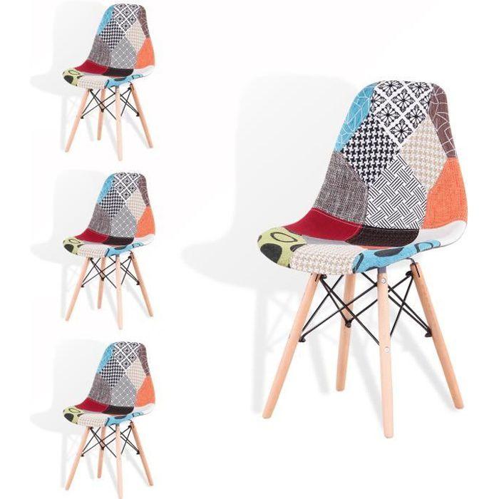 Lot de 4 Patchwork Eiffel Chaises de salle à Manger Salon Chaise Longue Vintage Multicolore