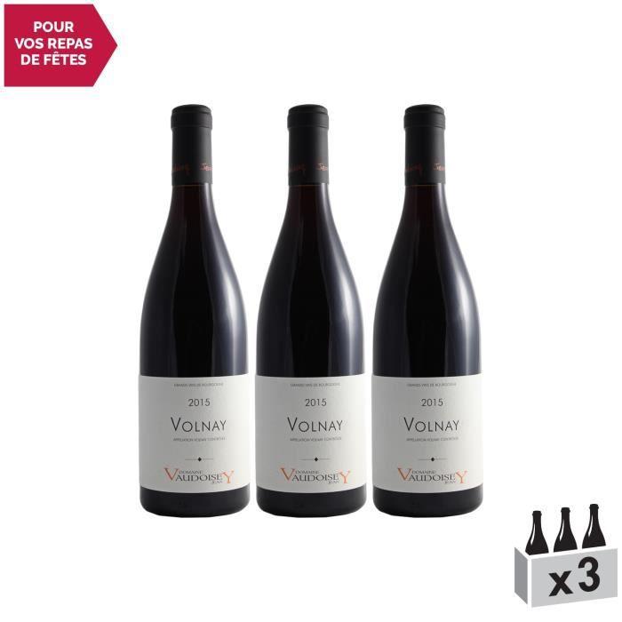 Volnay Rouge 2015 - Lot de 3x75cl - Domaine Jean Vaudoisey - Vin AOC Rouge de Bourgogne - Cépage Pinot Noir