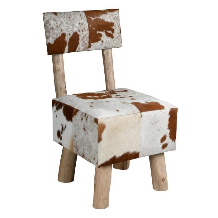 Chaise en peau de vache et eucalyptus