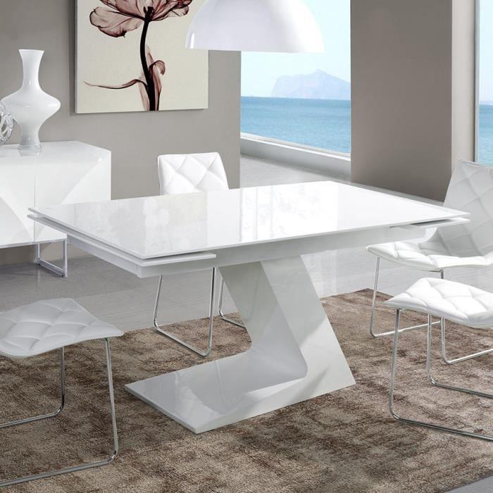 Table extensible design blanc laqué MANAMA Blanc L 160 x P 90 x H 76 cm