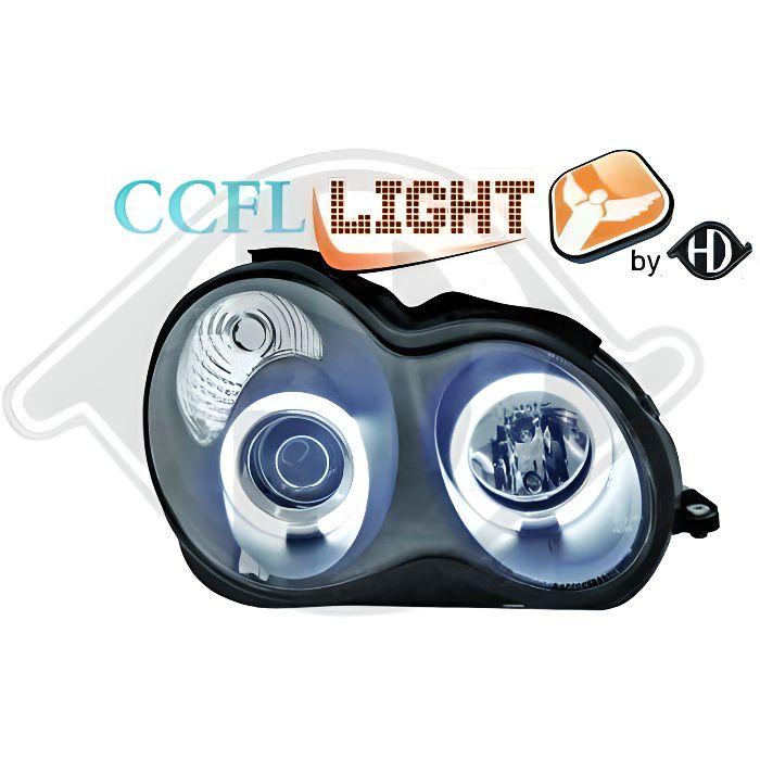 1671981 , Paire de Feux Phares Angel Eyes CCFL noir pour MERCEDES Classe C berline W203 de 2000 a 2007