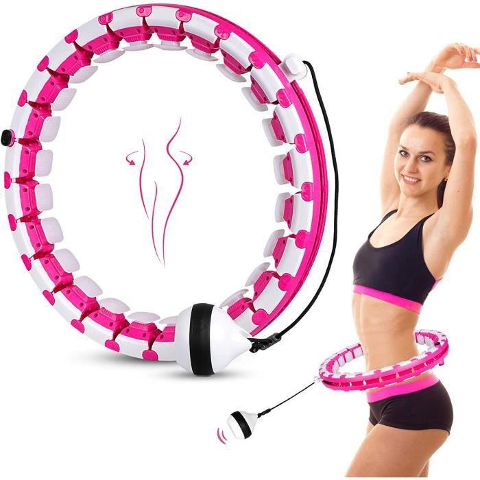 Cerceau Fitness Smart Hula Hoop Adulte Enfant 24 N?uds Amovibles Fitness Pneu Massage Intelligent Pondéré-Rose