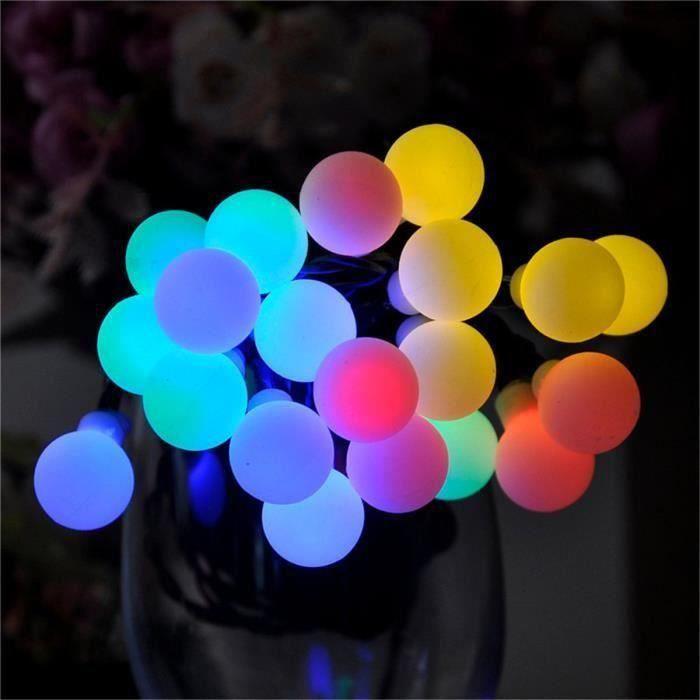 9m 20 LED Guirlande Lumineuse RGB Solaire Boule Globe Fée Décor Noël Fête Mariage FR11658