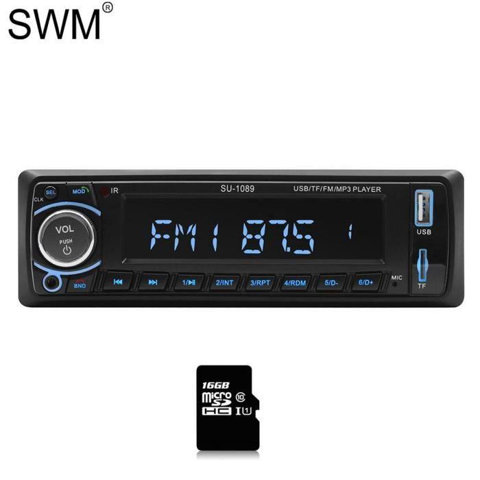 Enregistreur à bande SWM lecteur Audio Cassette de voiture mains libres Bluetooth lecteur MP3 AUX USB - Type Radio with 16GB Card