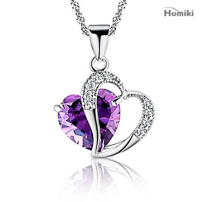 Naisidier Collier En Argent femmes Accent coeur améthyste Diamant Swarovski Elements Crystal Love Collier Pendentif L71790