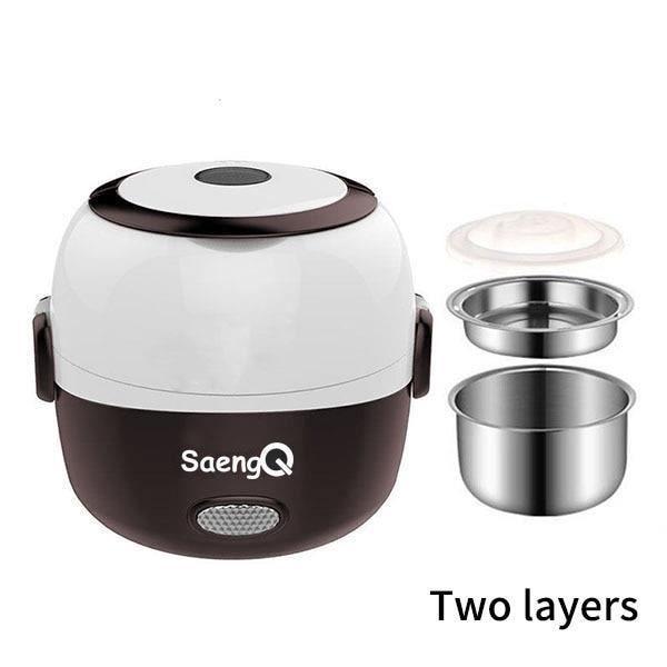 Cuiseur à riz en acier inoxydable 2 couches vapeur portable conservation de la chaleur repas chauffage boîte à lunch