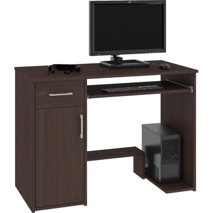 KILIG - Bureau PC informatique moderne 90x74x50 cm - Support unité centrale + tiroir + niche rangement - Table ordinateur - Wenge