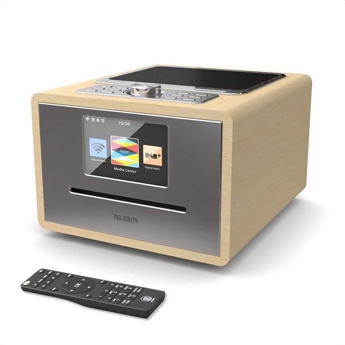 Majority Homerton Radio Internet Wi-FI - Lecteur CD, Télécommande, Dab/Dab+/FM numérique, Bluetooth, Double Alarme, Entrées AUX et U