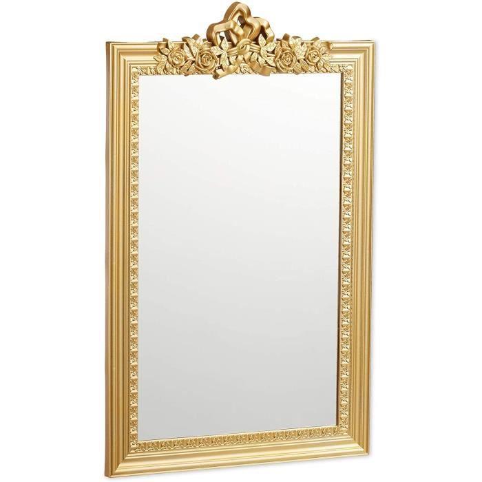 10025535_259 Baroque, Miroir rectangulaire à accrocher, Design Antique, Couloir, Salle de Bain, doré, PP, Verre, Carton, Or, 64 x 3