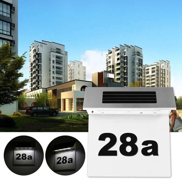 solaires en acier inoxydable numéro alimenté plaque de porte LED lumière lampe porte de la maison mur extérieur plaque de lumière