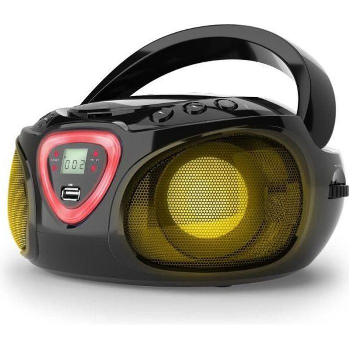 Auna Roadie Boombox CD USB MP3 Radio AM-FM Bluetooth 2.1 Jeu de couleurs LED - noir