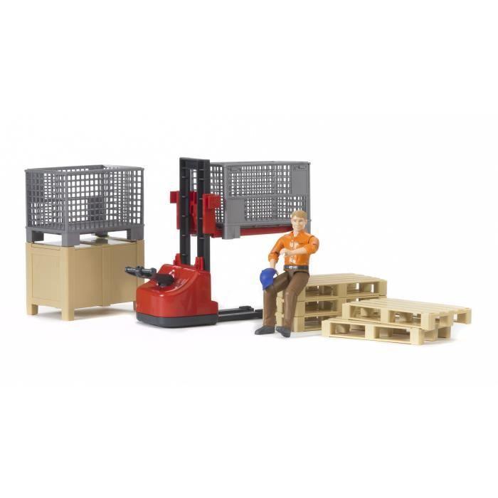 BRUDER - Set de logistique Bworld avec figurine - 20 cm