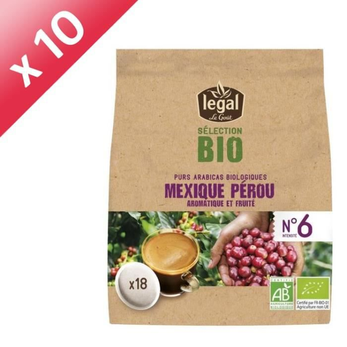 [LOT DE 10] LEGAL Cafés Selection Bio Mexique Perou - 18 Dosettes - 125 g