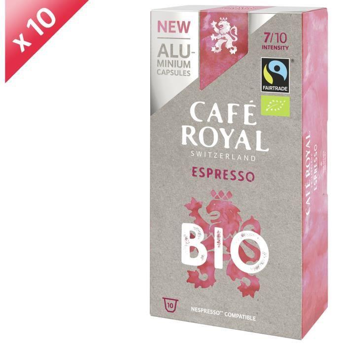 [LOT DE 10] CAFE ROYAL Café Espresso - Compatible Nespresso aluminium - Bio - 10 capsules