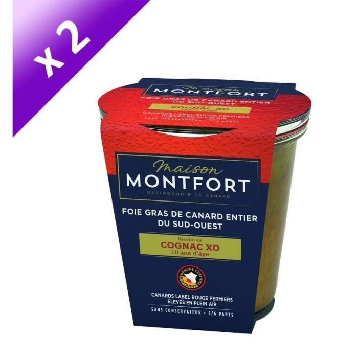 [LOT DE 2] MAISON MONTFORT Foie gras de canard entier - Recette au cognac XO 10 ans d'âge - 180 g