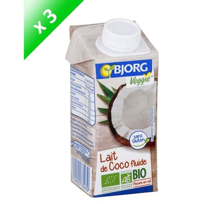 [LOT DE 3] Lait de coco cuisine bio 200 ml Bjorg