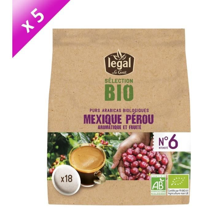[LOT DE 5] LEGAL Cafés Selection Bio Mexique Perou - 18 Dosettes - 125 g