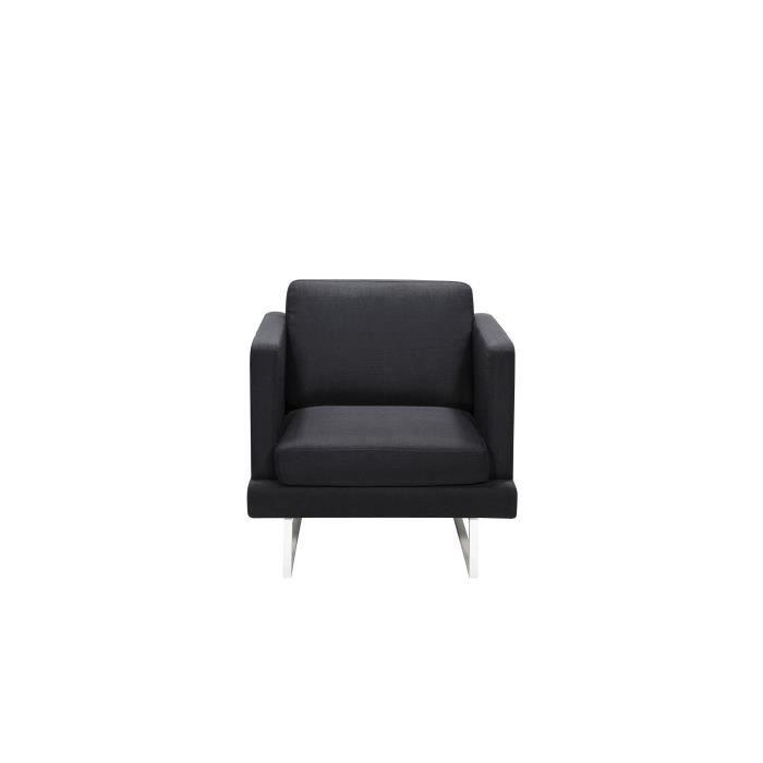 FINLANDEK Fauteuil WESTWOOD - Tissu noir - Contemporain - L 80 x P 81 cm