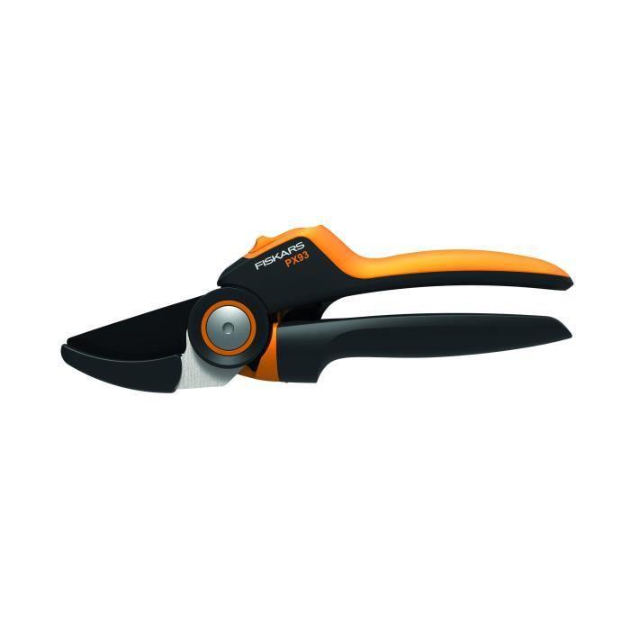 Fiskars Sécateur à enclume avec poignée rotative pour bois sec et dur, Système à crémaillère PowerGear X, Diamètre de coupe: 2,6