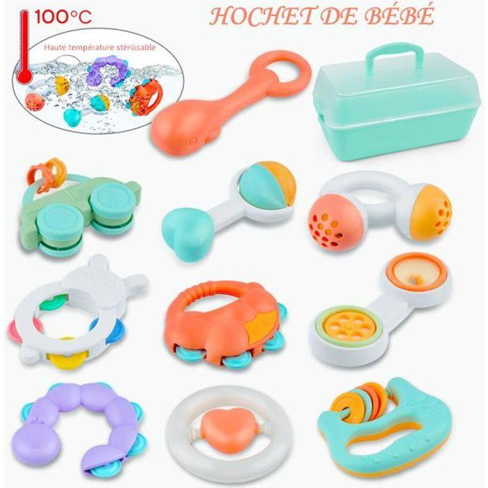 Gizmovine®Hochets Bébés Jouets d'éveil Tambourin Instruments de Musique Jouet Musical kid avec Boîte de Rangement sans BPA