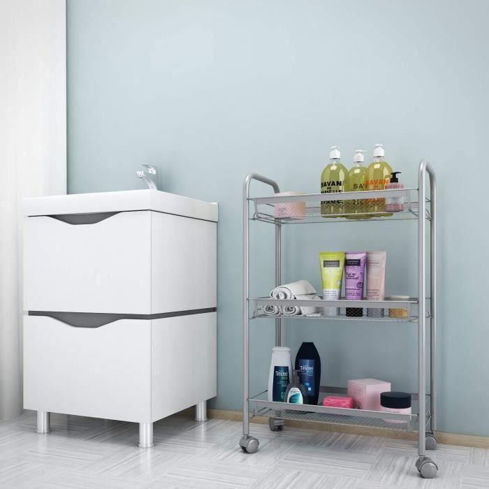 Etagere de rangement Organisation du panier 3 niveaux avec 4 roues Salle à manger/Salon/Salle de bain-Argent