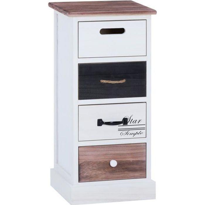 Chiffonnier LAGUNA étagère de rangement avec 4 tiroirs en bois de paulownia style shabby chic vintage rustique blanc brun noir
