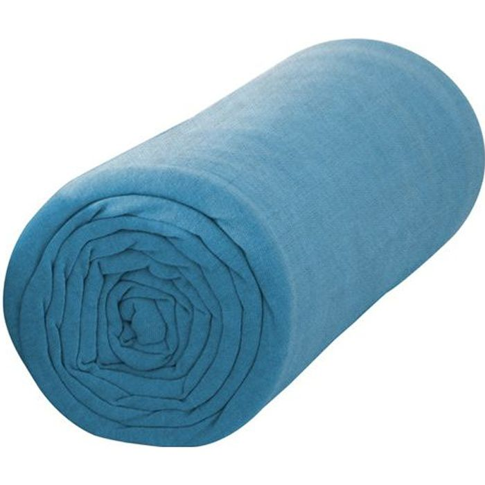 Drap Housse 90X190 1 personne Jersey uni bleu JERSEY