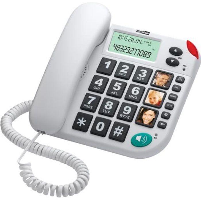 MaxCom KXT480, Téléphone analogique, Haut-parleur, Identification de l'appelant, Blanc
