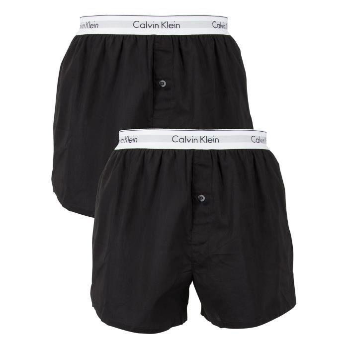 Calvin Klein Homme 2 Pack Logo Slim Fit Boxers, Noir