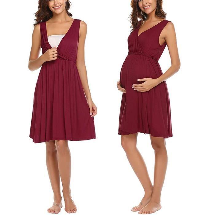 ROBE Maternité manches soins infirmiers bébé Allaitement Chemise de nuit robe de grossesseZFH90221876RDL_safeanquni