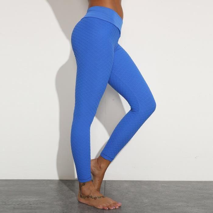 La taille haute pantalon de yoga de la femme Tummy contrôle Minceur Booty Leggings Lift Collants Bleu