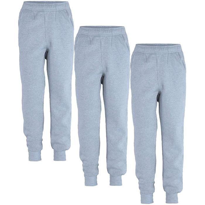 LotMart Enfants Uni Pantalon de Jogging Paquet (Paquet De 3) En Gris Chiné 11-12 Ans