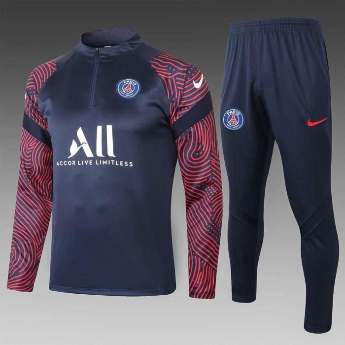 Maillot PSG Paris - Maillot Foot Enfants Garçon Homme 2020-2021 Survêtements Foot Maillot de Foot(Haut + Pantalon)