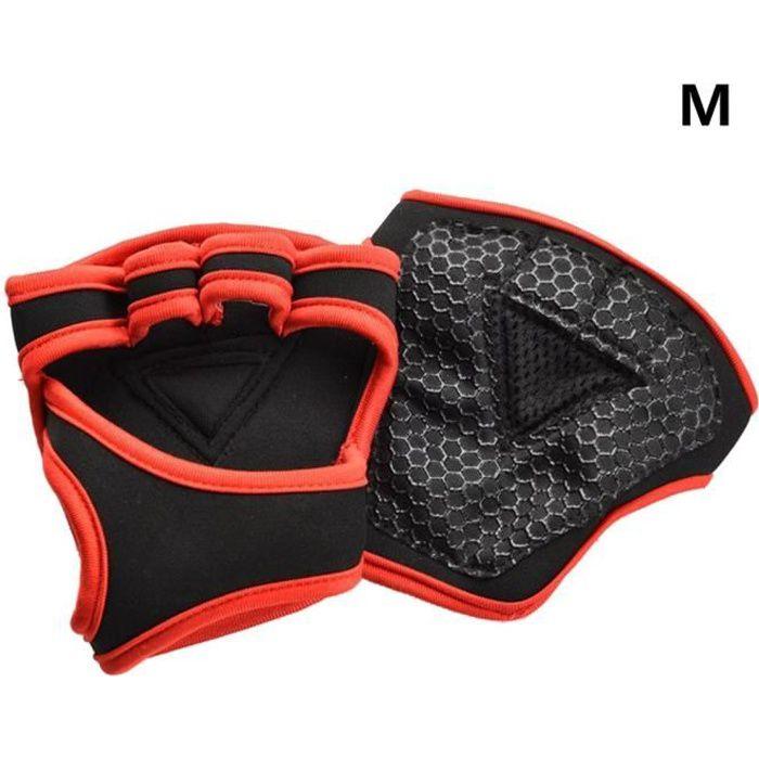 Gants d'entraînement d'haltérophilie Fitness Sports Body Building Gants de gymnastique rouge - type A - taille M